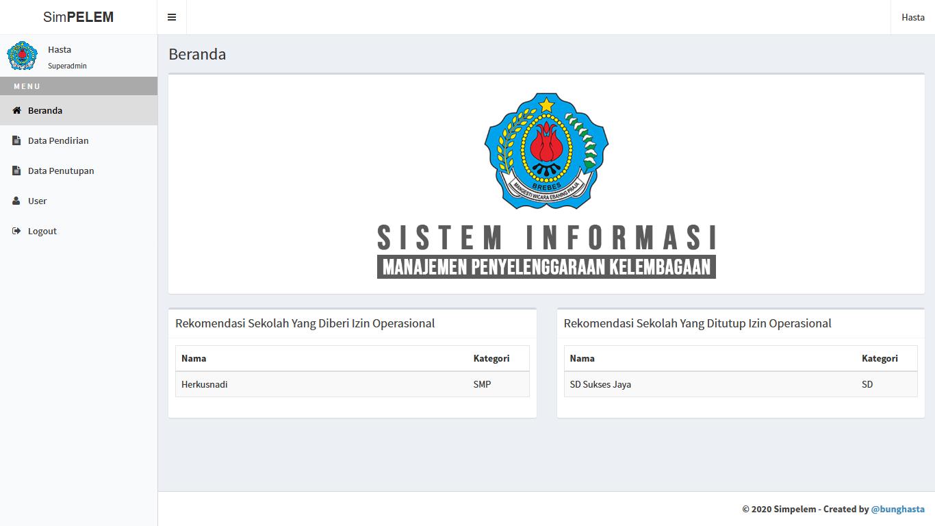 Sistem Manajemen Penyelenggaraan Kelembagaan (Simpelem) Kabupaten Brebes