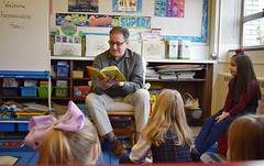 "In honor of Dr. Seuss's birthday and Read Across America Day, State Representative John Fusco read to students in Ms. Antonazzo's 2nd grade class at Southington Catholic School.  After a brief talk about his role as a state legislator, Rep. Fusco read ""There's a Wocket in my Pocket"" and ""Cat in the Hat"" by Dr. Seuss to the class."