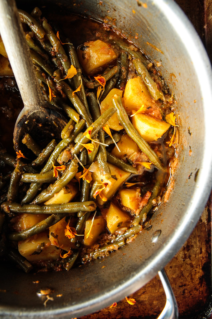 Greek Potatoes and Green Beans from HeatherChristo.com