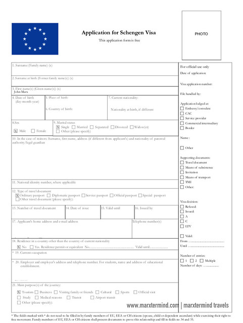 Application form for Schengen Visa via French Embassy