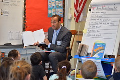 State Rep. Brian Farnen reads to Fairfield students celebrating Read Across America.