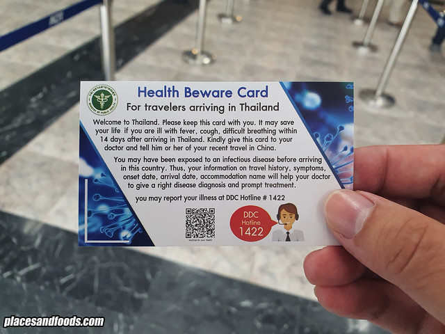 hatyai airport health beware card