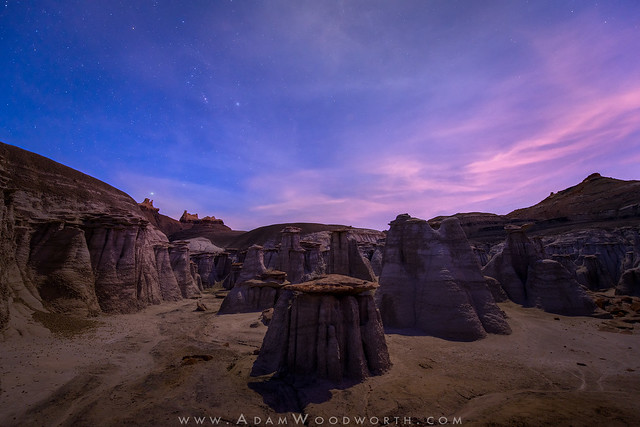 Long Lasting Sunset Colors and Orion by Moonlight Over Hoodoos
