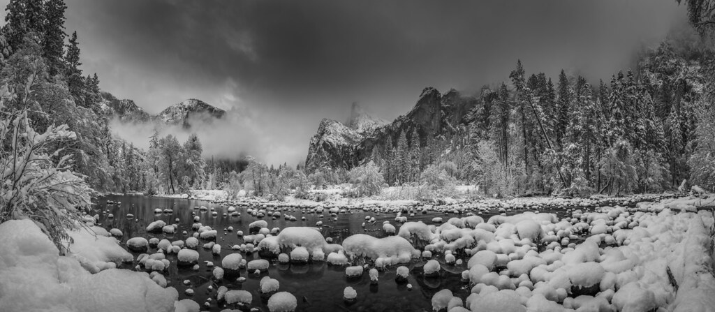 Valley View Merced River El Capitan Winter Snow! Yosemite Winter Snow! Yosemite National Park Fuji GFX100 Medium Format Fine Art Landscape Nature Photography Winter Snowstorm! Dr. Elliot McGucken Fuji GFX 100 Fine Art!