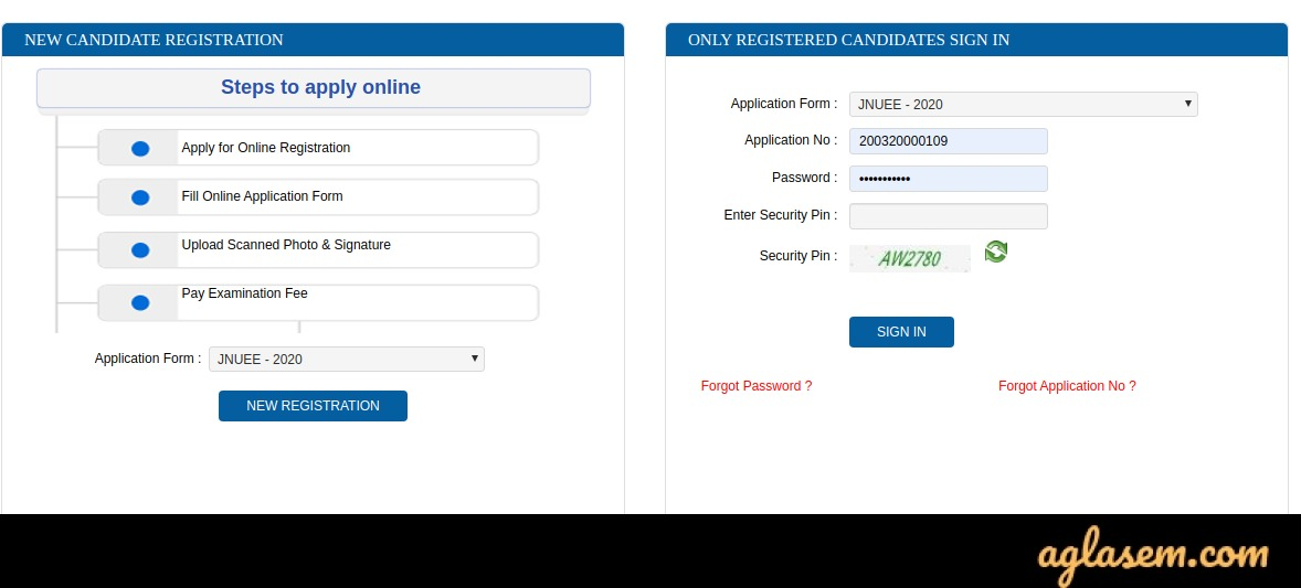 How to Fill JNUEE 2020 Application Form