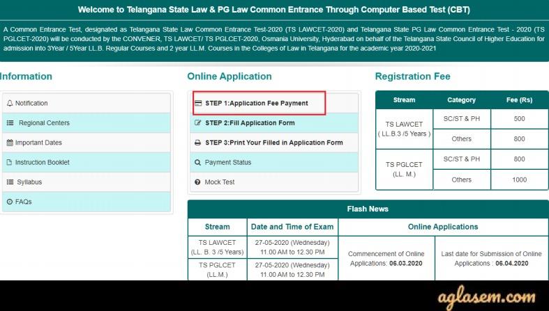 TS PGLCET 2020 Application Form