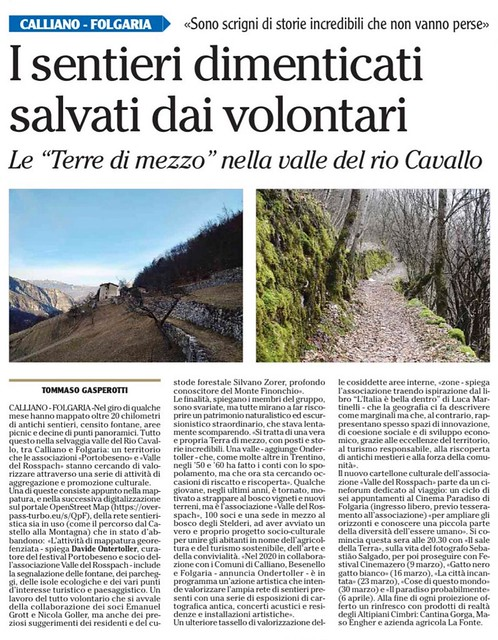 quotidiano l'Adige 2 marzo 2020