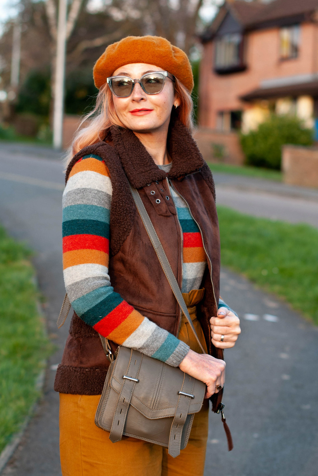 A Burst of Autumnal Stripes and Layers For the Last Time (striped sweater, paperbag mustard trousers, brown sheepskin gilet, mustard beret, burgundy flatforms) | Not Dressed As Lamb, Over 40 Style