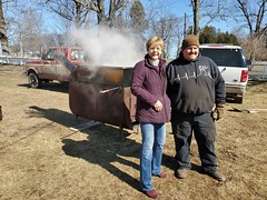 Rep. Zawistowski joined maple sugar master Ron Fenoff Jr. of Triple F Farms in Suffield for a sap boil event sponsored by Suffield350 at Phelps-Hatheway House.