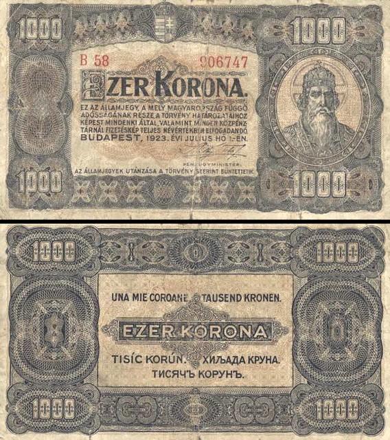 1000 Korona Maďarsko 1923, P75b