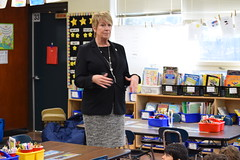 State Rep. Laura Devlin reading to the second graders at Dwight Elementary school celebrating Read Across America.