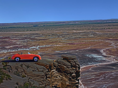 painteddesert arizona nationalmonument grandiose desert vast landscape color colors colorful porsche car automobile germancar abandoned minimalism vista view