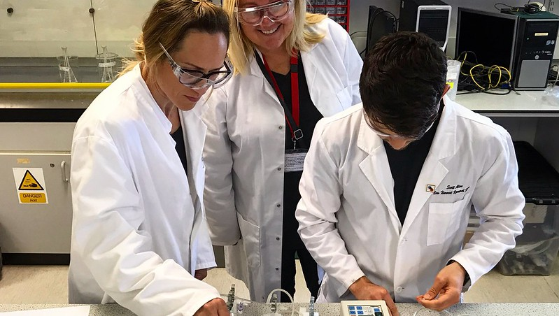 Dr Marianne Ellis working with colleagues in the lab