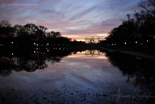 Lincoln Memorial and reflecting pool, sunset | by Allison Kendall