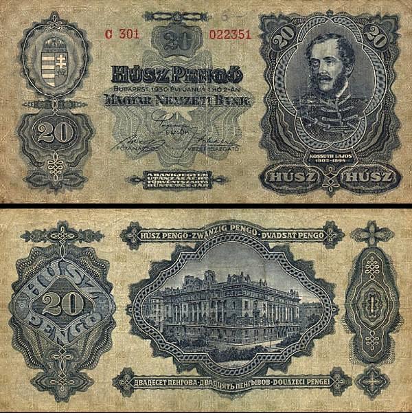 20 maďarských pengő Maďarsko 1930, P97