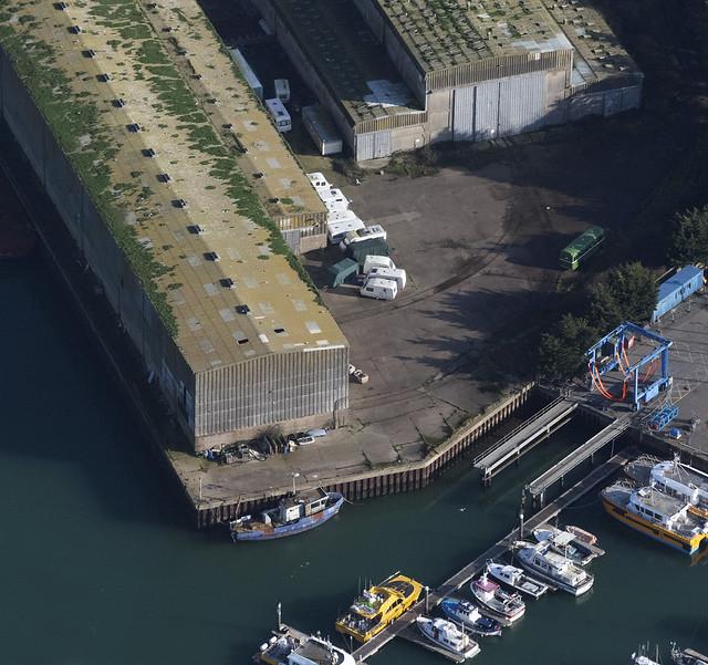Brooke Marine buildings on Lake Lothing - Lowestoft aerial image
