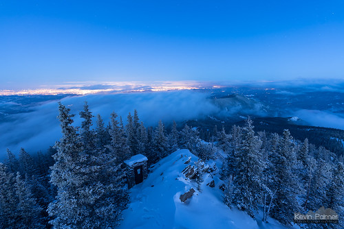 colorado winter february nikond750 cold snow snowy squawmountain firelookouttower forest trees tamron2470mmf28 fog night sky stars starry space astronomy astrophotography twilight blue denver city lights rime glow rockies rockymountains frontrange