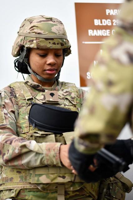 U.S. Army Spc. Diamond Wrushen participates in an indoor firing range training evolution