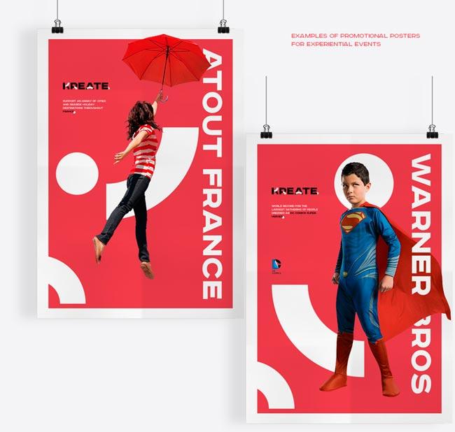 Aunque estos carteles son diferentes, una base sólida de la marca ha llevado a una identidad consistente: rojo vibrante combinado con imágenes alegres.
