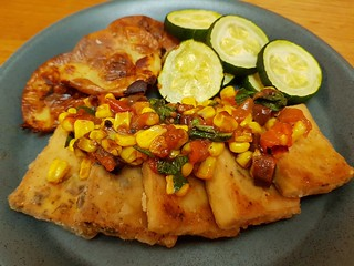 Crispy Tofu with Olives and Corn-Tomato Relish