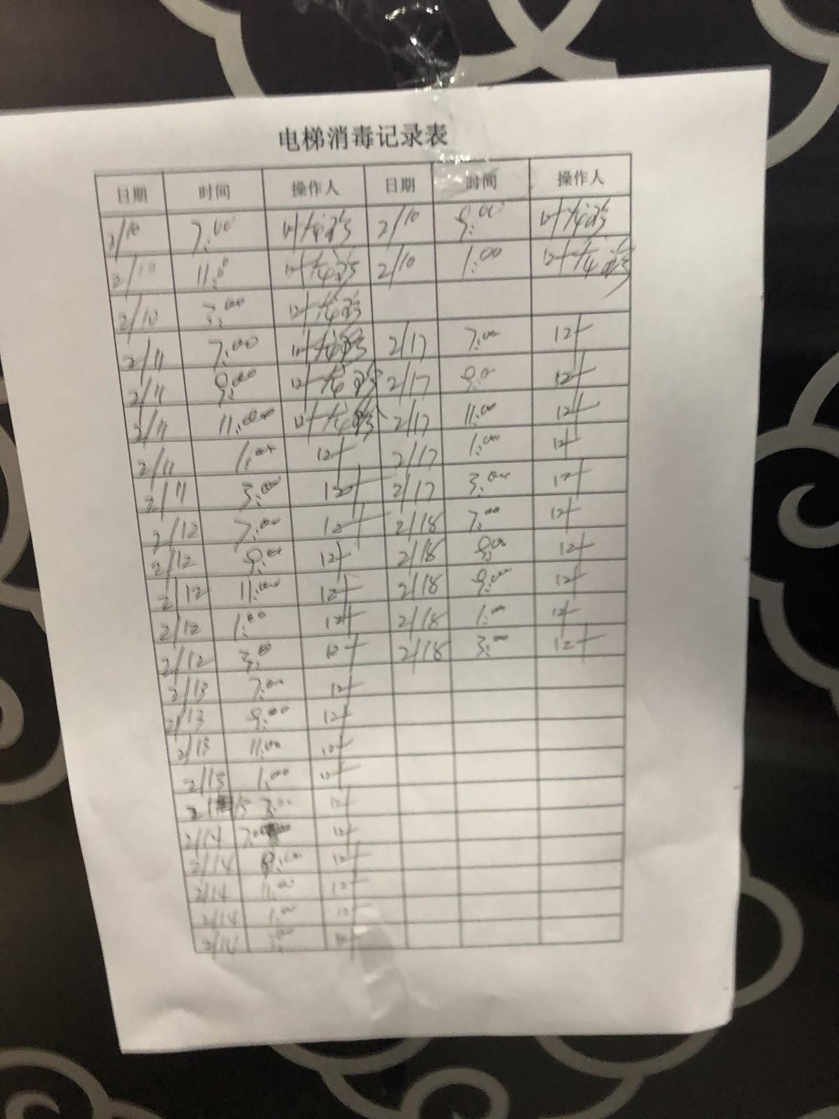 Elevator Cleaning Schedule