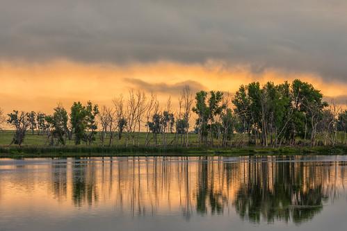 landscape lake water reflections clouds sunrise dawn daybreak trees rockymountainarsenal colorado landscapes