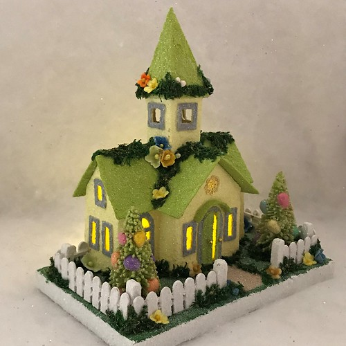 MINI Light Yellow and Lime Green Easter Church