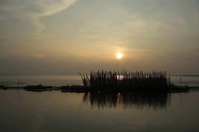 Evening on Po river delta, Gorino.