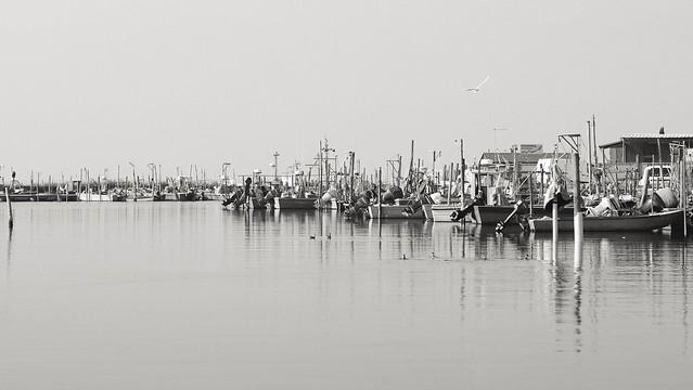 Po river delta. Gorino harbour.