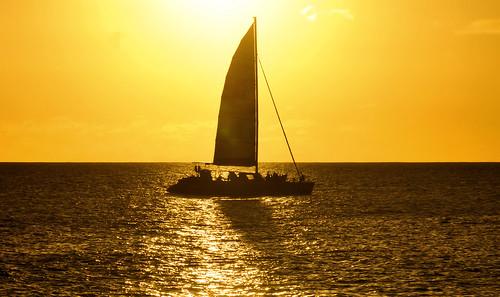 sunset sunrise sea tropical ocean caribbean island sky clouds beach paradise sint marrten sailing boat sport