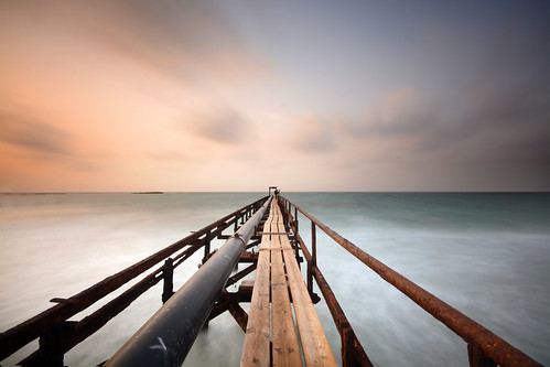 sea water ocean dock long exposure clouds time fog black white wide beach israel landscape waterscape golden hour sunset movment nature