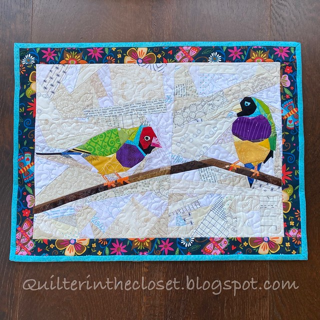 Gouldian Finches, paper pieced