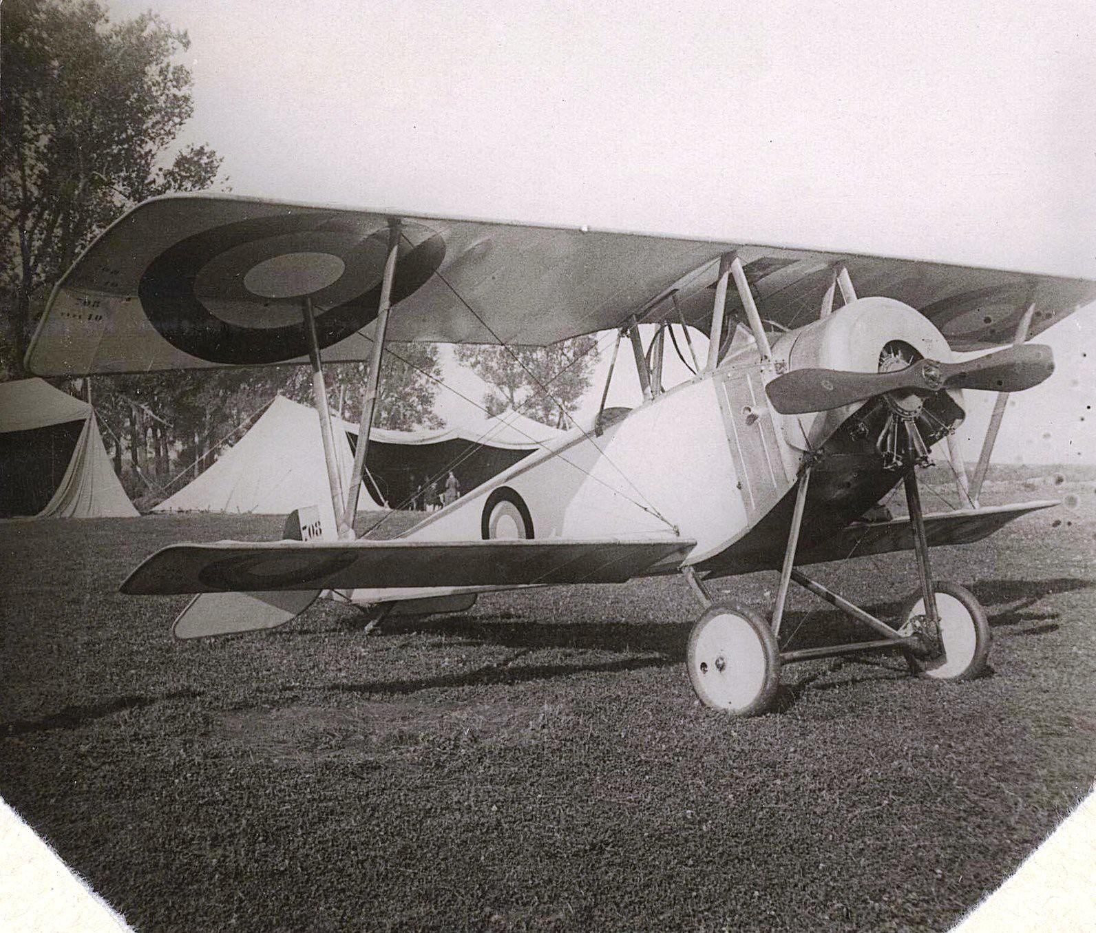 1915. Самолёт № 708 на лугу