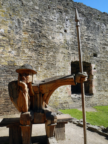 Wooden guard sculpture at Conwy Castle in Wales