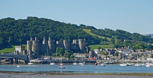 Conwy Castle with its towers and turrets from across the water
