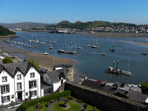 Looking at the harbour from Conwy Castle in Wales