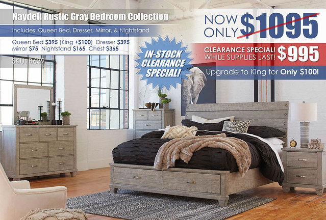 Naydell Rustic Gray Bedroom Clearance_B639
