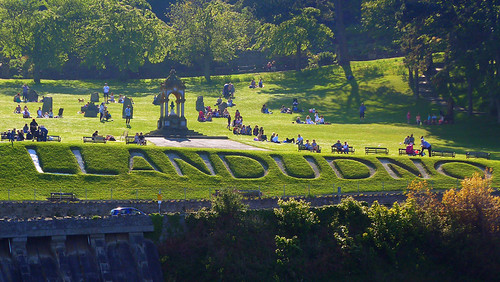 Llandudno, Wales: the town's name cut into the grass