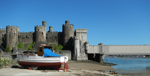 Conwy Castle with its towers and turrets from the nearby beach