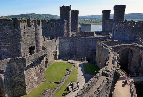 Looking down on the interior courtyard of the castle in Conwy, Wales