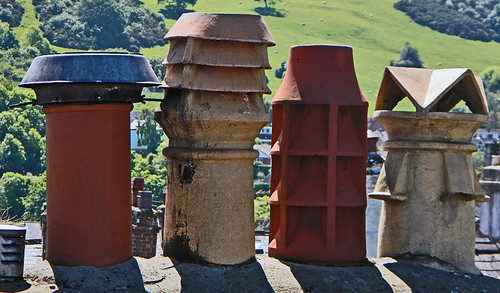 Chimney pots of a nearby house from Conwy Castle in Wales