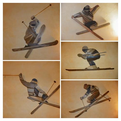 silhouettes bois skieurs