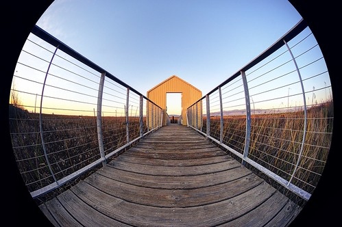 alviso sanjose california usa alvisomarinacountypark siliconvalley sanfranciscobay sanfranciscobayarea southbay baysidepark park marsh marshland pier boardwalk door railing dusk sunset goldenhour outdoor sky clear sony a6000sony a6000 laowa4mmf28 laowa4mmf28fisheye 3xp raw photomatix hdr qualityhdr qualityhdrphotography fav100 circle circularfisheye fisheye wideangle wideanglelens fisheyelens