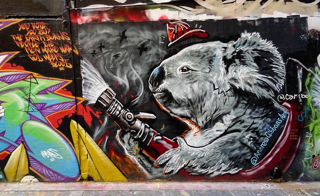Melbourne Street Art - Koala Firefighter