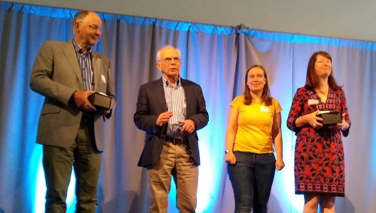Helen Featherstone recieving the Beetlestone Award.