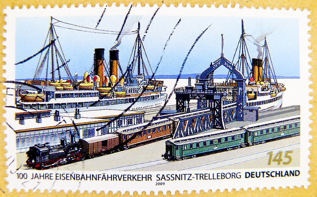 great stamp Germany 145c train loading in the port of Sassnitz City, Baltic Sea, ferry traffic ~1925, Bahnverladung im Sassnitzer Stadthafen, Eisenbahnfährverkehr ca.1925; (port, ferry, train, Eisenbahn, Fähre, Hafen, Zug, steam train, Lok, ferrocarril)