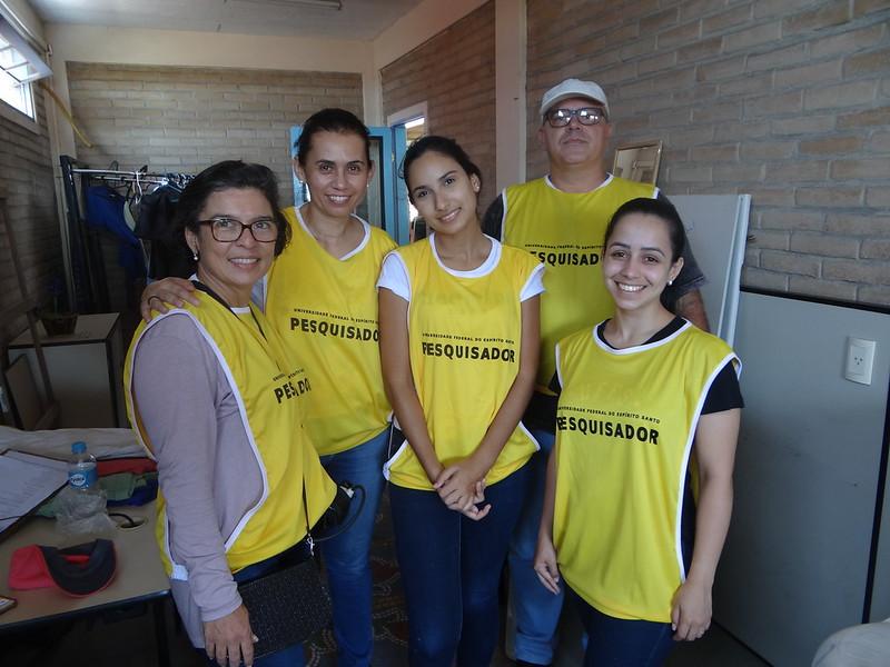 Equipe de validação do instrumento de coleta de dados (questionário). Da esquerda para direita: Ingrid Kandler, Miriam Magdala, Barbara Oliveira, Valdir Corrêa (Júnior) e Mariana Leal, Dezembro de 2019.