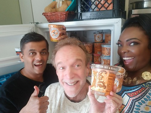 J Pegues, KaTrina Griffin - New Orleans Ice Cream Co. donation - March 5, 2020. Photo by KaTrina Griffin.