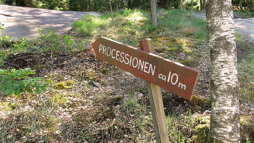 A directional sign on our walk to the 'Processions' petroglyph