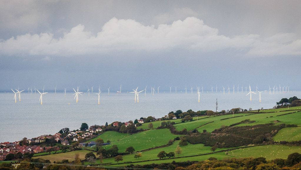 Offshore wind turbines shown along a semi rural coastline.